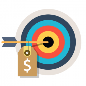 Animation of an arrow with price tag around it in the center of a target