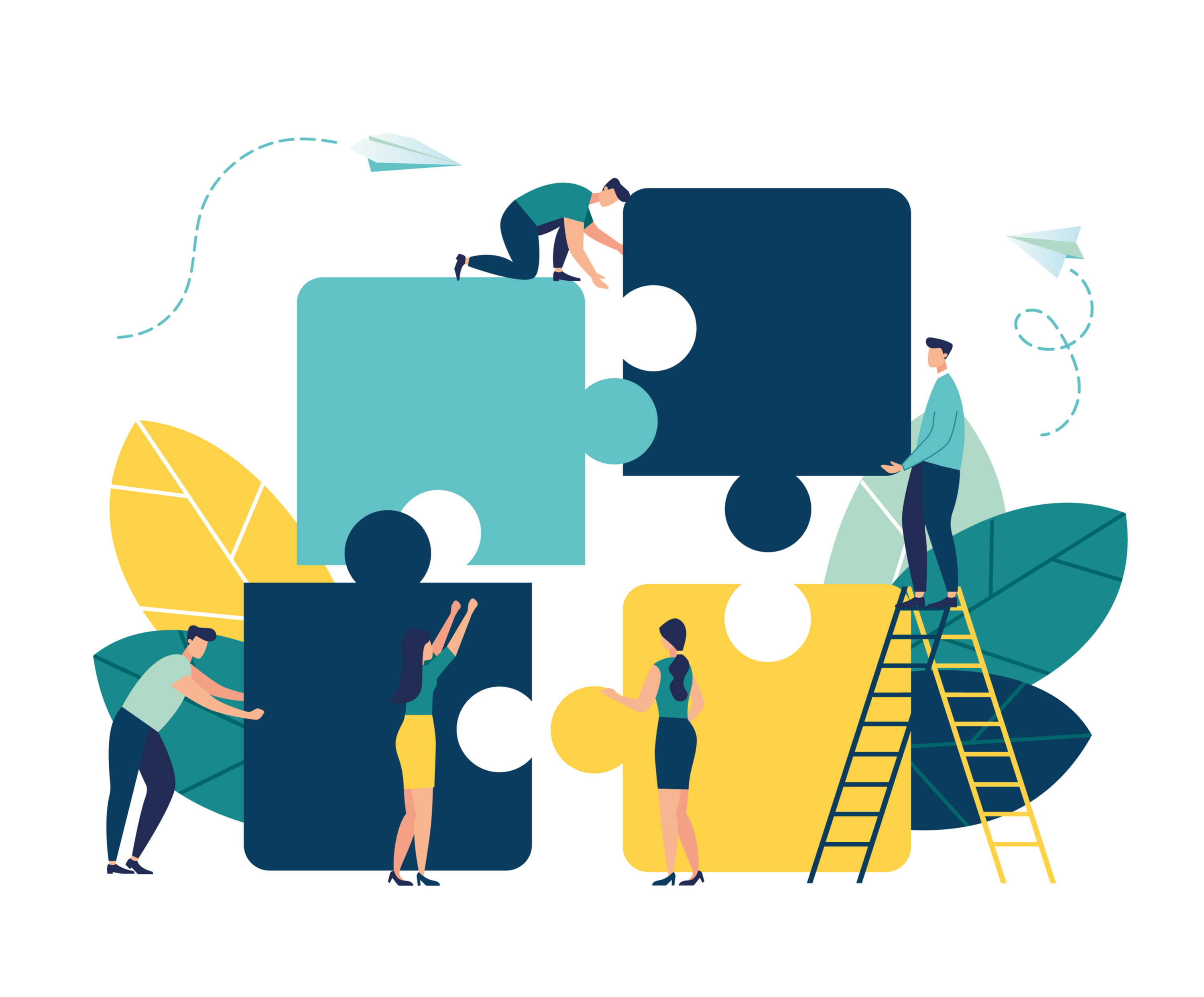 Animation of figures connecting big puzzle pieces building company culture